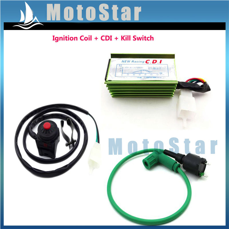 Green Racing Ignition Coil CDI Spark Plug For 90 125cc 150cc 160cc Dirt Pit Bike