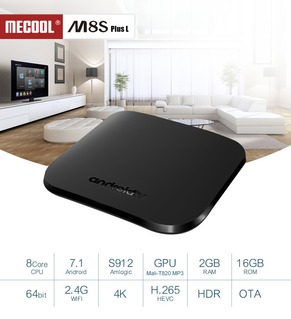 MECOOL M8S PLUS L TV Box Android 7.1 Amlogic S912 Octa Core 2GB 16GB 2.4G WiFi Smart Set Top Box 4K 100M HDMI2.0 Media Player m96x ii plus digital smart tv box 2gb 16gb android 7 1 media player s912 octa core 2g 5g wifi 4k internet tv set top box