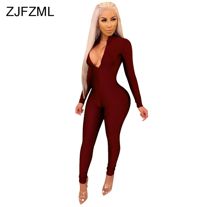 Deep V Neck Casual Rompers Women Jumpsuit Solid Front Zip Full Sleeve Night Club Party Overall Streetwear High Stretchy Bodysuit