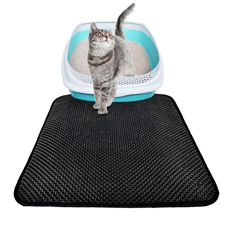 Cat Litter Mat Eva Double-layer Cat Litter Trapper Mats With Waterproof Bottom Layer Black Breathable Holes