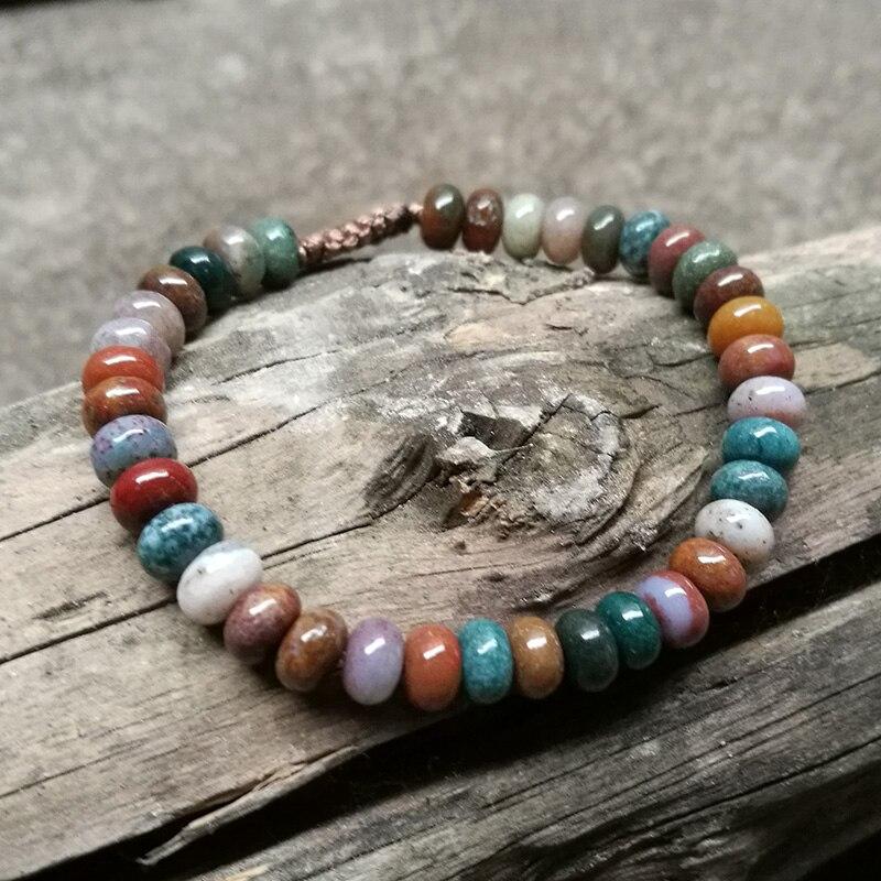 EDOTHALIA Cute New 4*6mm Abacus Beads Ocean Onyx Stone Agat Wrap Bracelet Woven Friendship Bracelet Women Jewelry Bijoux