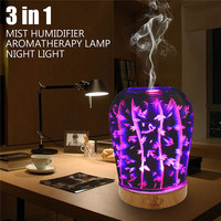 Ultrasonic Cool Air Mist Humidifier 3D Glass Night Lights Portable Aromatherapy Diffuser 12W 100 240V US