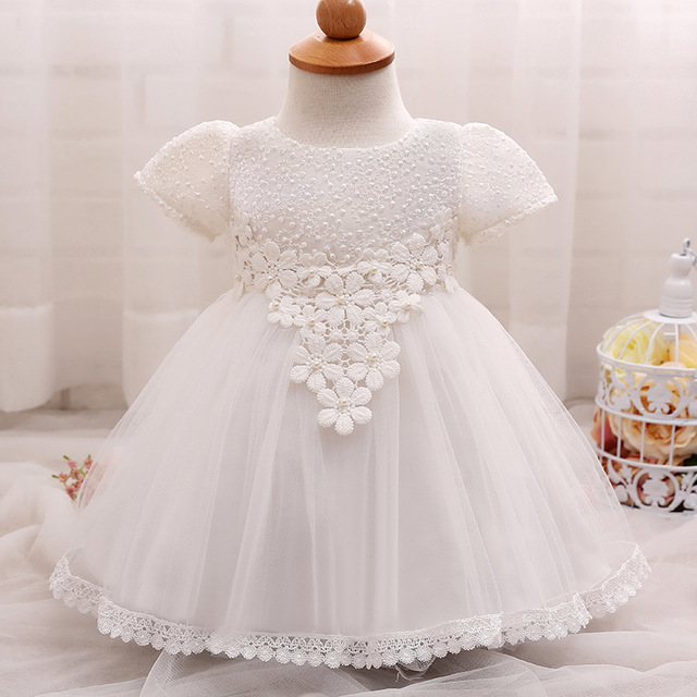 aa3d1b6775f New Summer Baby Girl Dress Baby Flower Beaded Lace Princess Dress Infant  Clothes Outfits Baby Girl Birthday Dress Baptism Gowns
