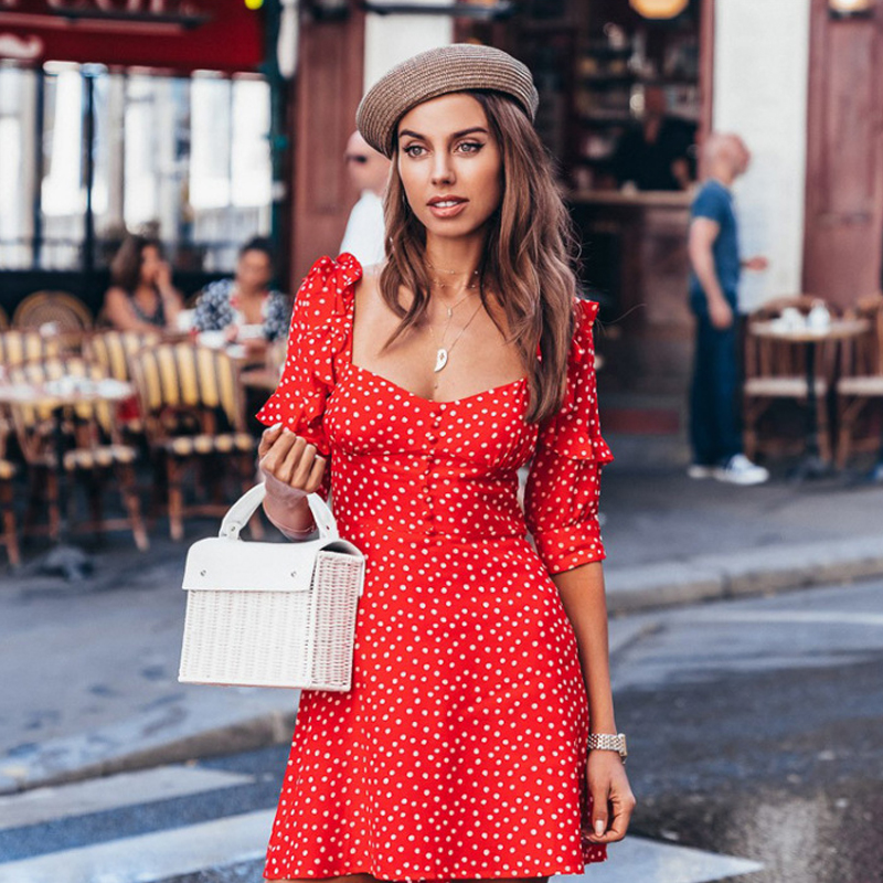 Autumn summer red <font><b>dress</b></font> 2019 Vacation Women vestido Polka dot <font><b>Sexy</b></font> U-neck casual print <font><b>mini</b></font> <font><b>dress</b></font> Womens half sleeve <font><b>Dresses</b></font> image