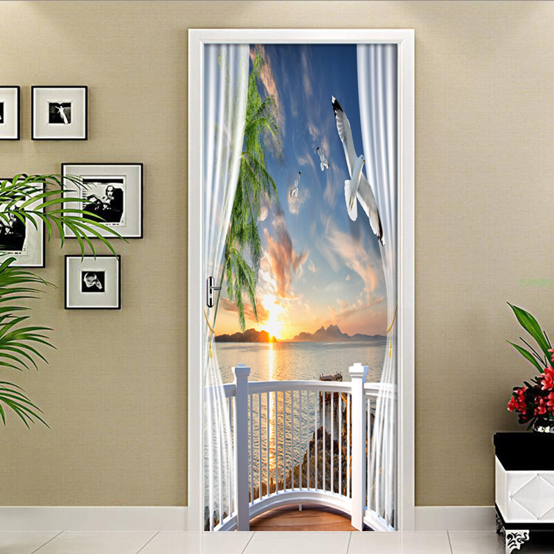Dusk Scenery Outside Window 3D Door Sticker PVC Waterproof Self-adhesive Wallpaper Wall Stickers Living Room Door Decor Decals