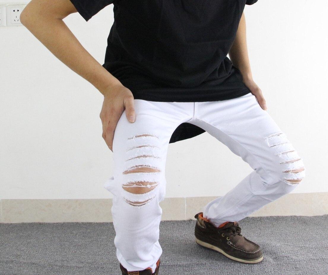 Slim Mens Biker Jeans Motosiklet yüksək küçə hip hop deşik - Kişi geyimi - Fotoqrafiya 3