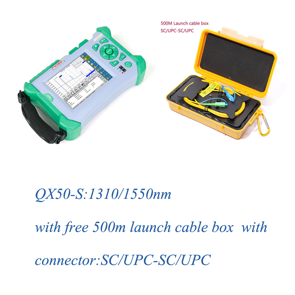 Komshine SM OTDR QX50-S 1310/1550nm with free SM launch cable box SC/UPC-SC/UPC Connector Komshine SM OTDR QX50-S 1310/1550nm with free SM launch cable box SC/UPC-SC/UPC Connector