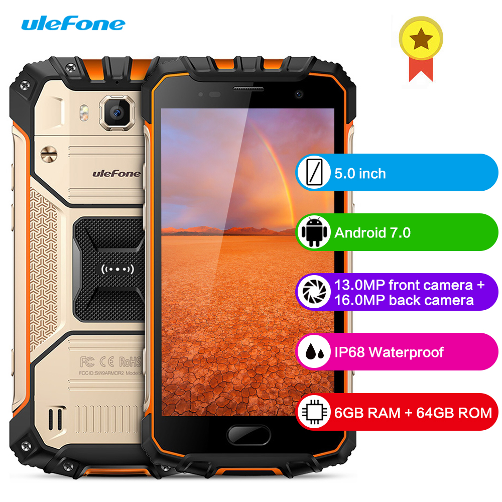 Ulefone Armor 2 4G Smartphone 5.0 Inch 6GB RAM 64GB ROM Android 7.0 Octa Core 2.6GHz IP68 Waterproof NFC 16MP Mobile CellPhone