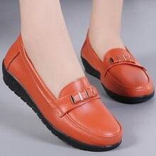 купить Slip-on Shoes for Women Flats Big Size 41-44 Genuine Leather Metal Decoration Round Toe Boat Shoes Ladies Office Rubber по цене 921.31 рублей