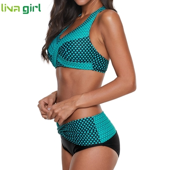 Liva girl Polka Dots Bikinis Set Sexy Swimsuit Push Up Brazilian Bikini Suits Female Swimming Bikini Maillot De Bain Plus Size 4