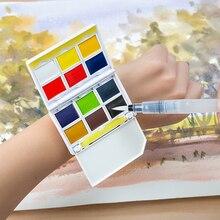 Creative Portable 12/24Colors Watch type Pigment Solid Watercolor Paints Set With Paintbrush Pigment Set best gifts Art Supplies