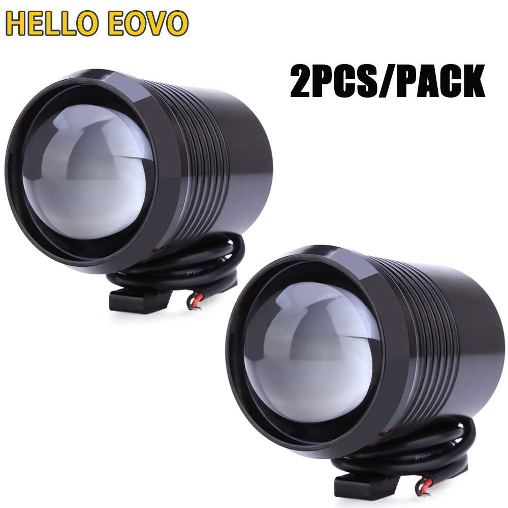 2PCS Motorcycle Headlight U2 1200LM 30W High Low Flash LED Driving Spot Head Bulb Light Lamp Headlight Black Silver