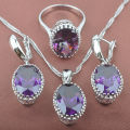 Classic Purple Egg Design Cubic Zircon Women's 925 Silver Jewelry Sets Necklace Pendant Earrings Rings Free Shipping TS035