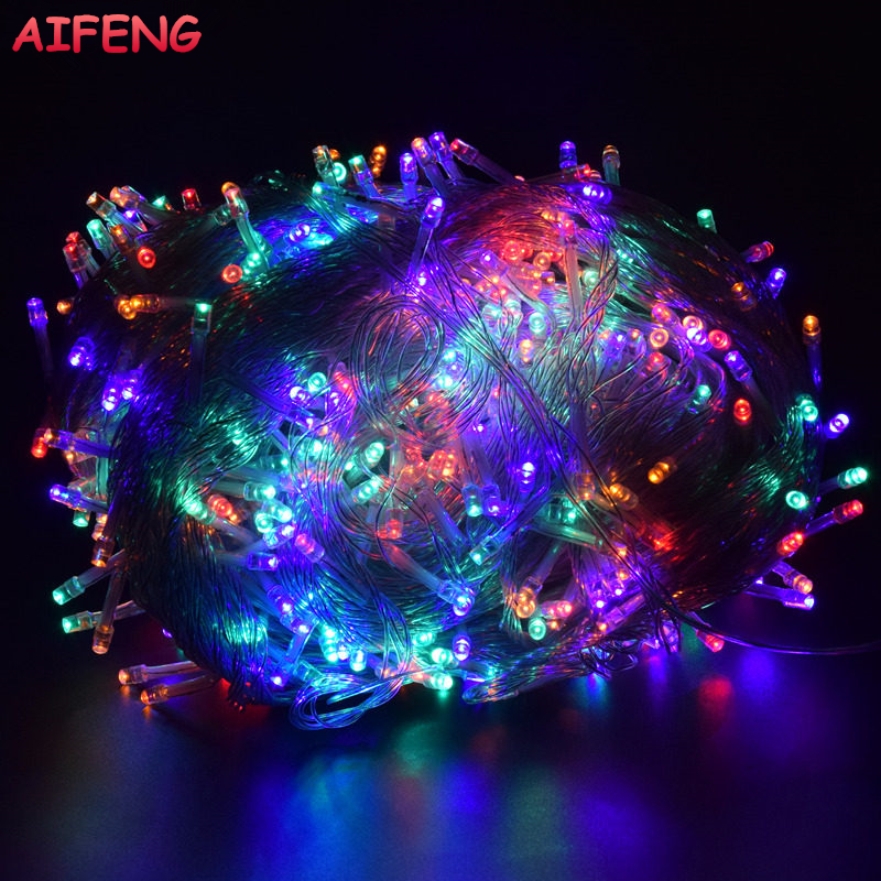 AIFENG Christmas Lights 5M 10M 20M 30M 50M 100M Led String Fairy Light 8 Tryby Christmas Lights na wesele wakacje Lights