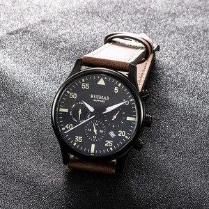 Image 5 - RUIMAS גברים אופנה עור אמיתי רצועת שעון אוטומטי עסקים מכאני שעונים זכר שעון שעוני יד Erkek Kol Saati