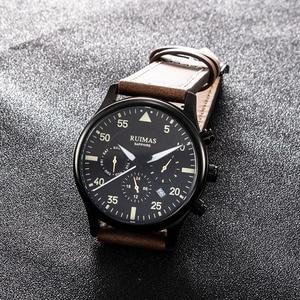 Image 5 - Ruimas Mannen Mode Lederen Band Horloge Automatische Business Mechanische Horloges Mannelijke Klok Horloges Erkek Kol Saati