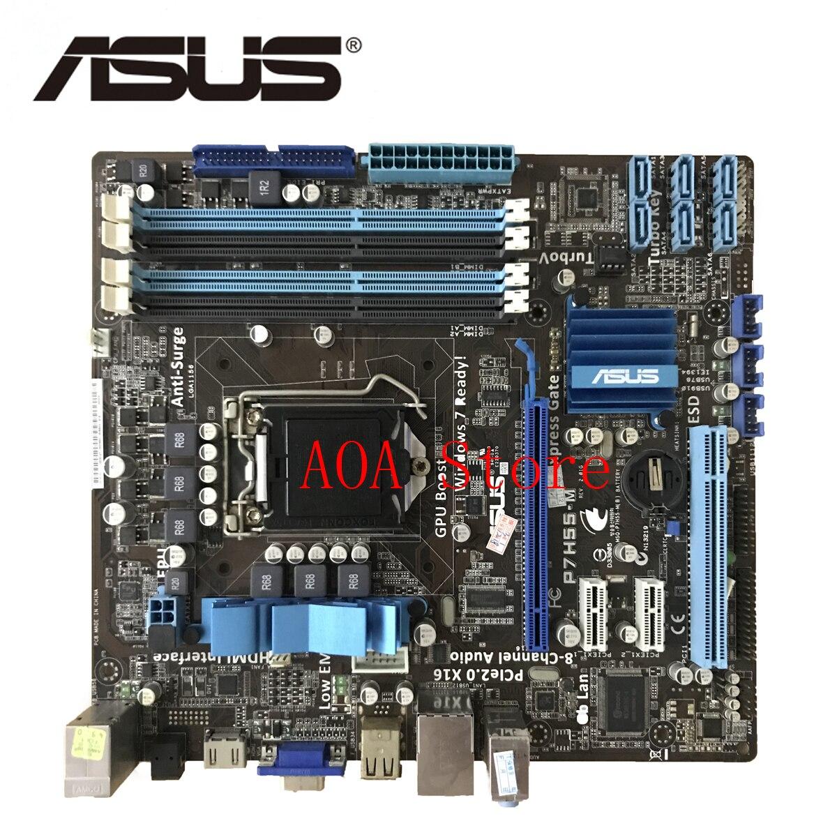 Socket LGA 1156 para Intel H55 ASUS P7H55-M Original placa madre hembra uATX HDMI VGA 4 DDR3 16 GB placa base de escritorio p7H55M