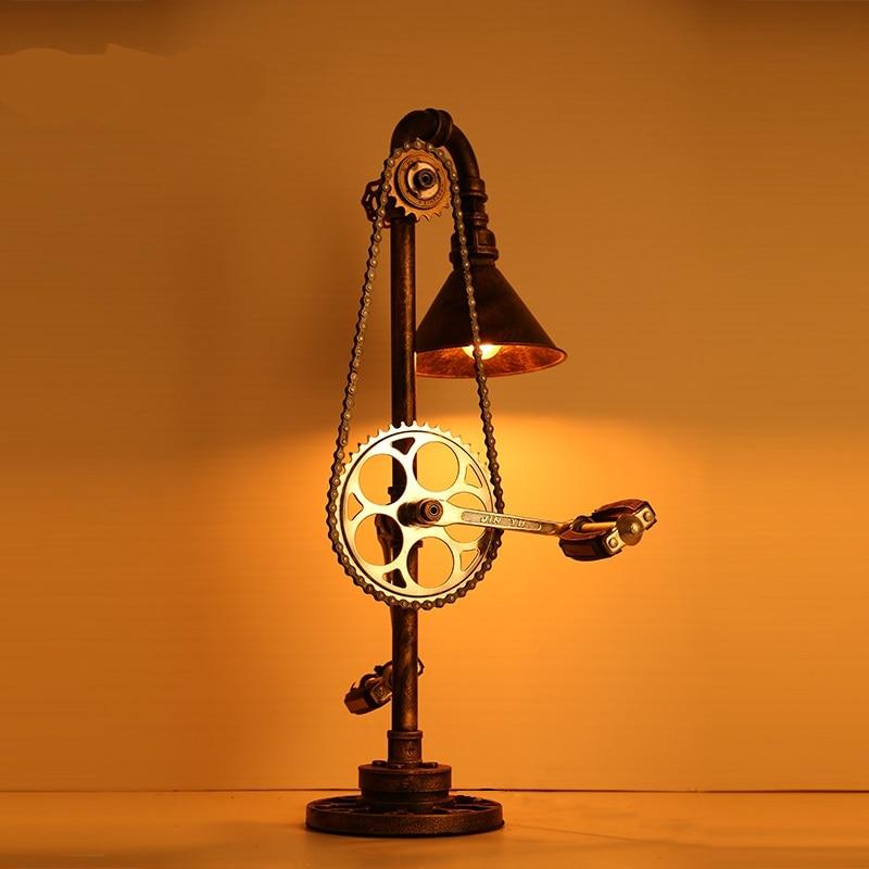 Винтаж Настольные лампы кованого железа промышленного ветер Творческий столовая гостиная исследование отдельные спальни bed head lu731362