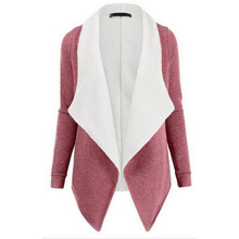 2017 Winter Cardigan Warm Thick lining Wool & Blends Lapel Lamb Wool Jacket Coat Patchwork Long Outerwear Coat for Women