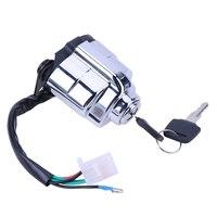 Motorcycle Electric Door Lock Set with Edge/Fuel Tank Cover Lock Helmet Lock Metal Motorbike Helmet Lock for Honda CA250