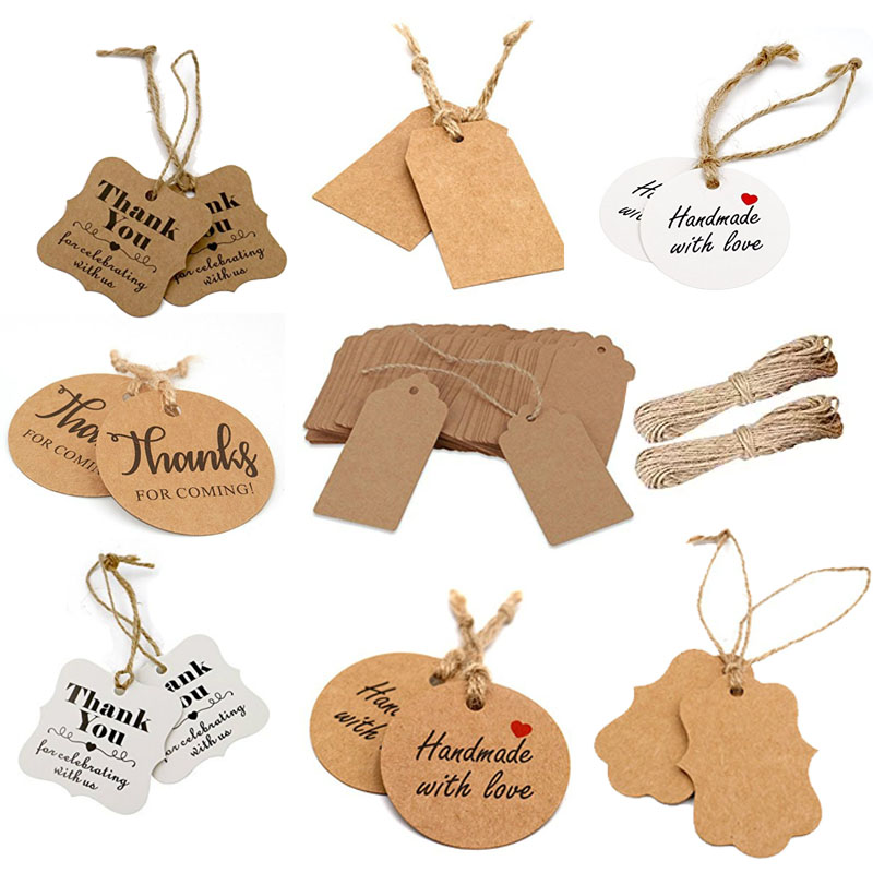 100Pcs Hanging Tags Label Cake Gift Packaging Label Kraft Paper Party Decor RD