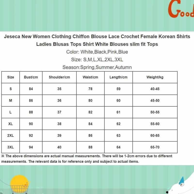 Jeseca 新女性服シフォンブラウスレース編み女性韓国シャツ女性 Blusas トップスブラウススリムフィットトップス