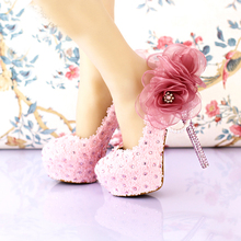 2016 Handmade Pink Lace Wedding Shoes Women Pumps Bridal Dress Prom Shoes Party Shoes Beautiful Appliqued Bridesmaid Shoes