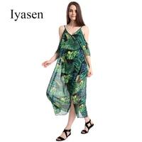 Iyasen Beach Dress Women Plantain Leaf Pattern Sling Strapless Chiffon Sexy Dress