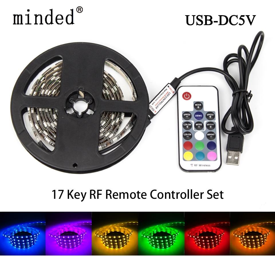 5050 RGB LED Strip 1M 2M DC5V USB Flexible Light TV Background Lighting RGB LED Strip Adhesive Tape IP20/IP65 Waterproof 60 leds