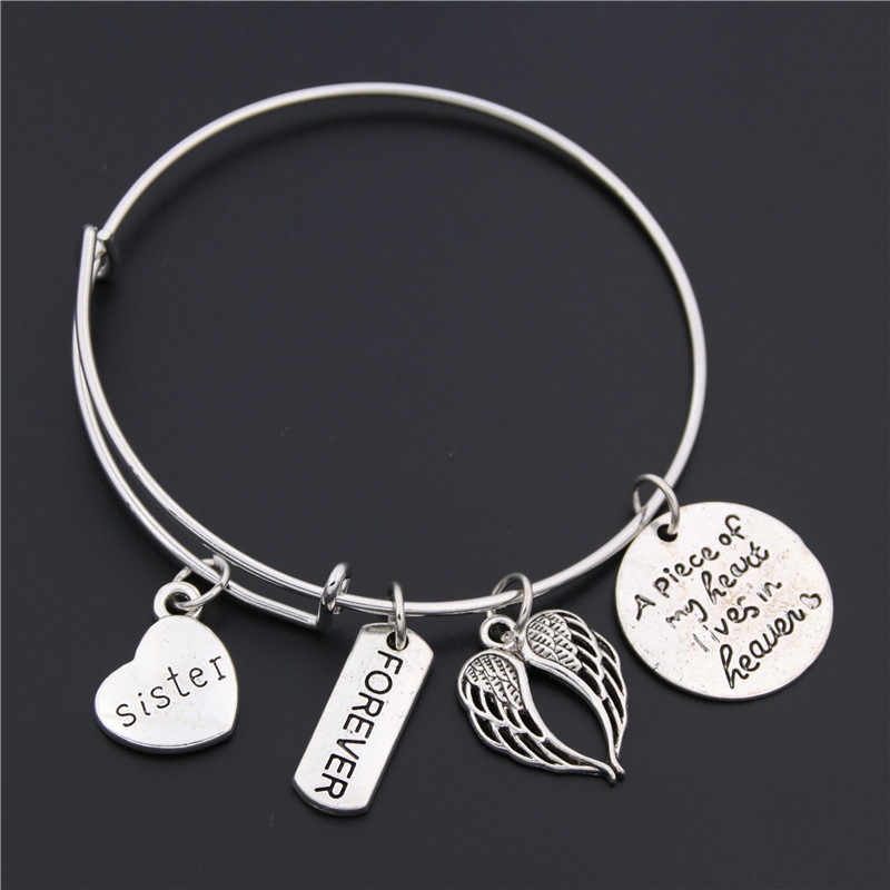 1pc Memorial Bangle Loss of Mom Daughter Grandma Sister Dad Remembrance Adjustable Bangle Bracelet Sympathy Gift Jewelry