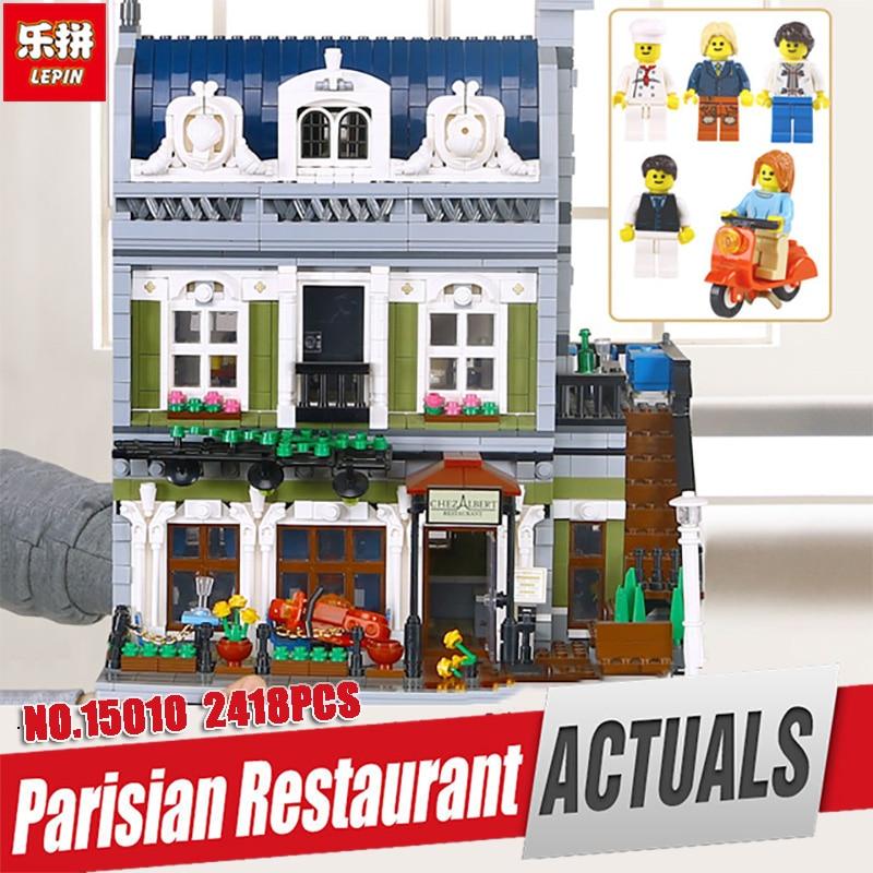 DHL Lepin 15010 Expert City Street Parisian Restaurant Model Building Kits Blocks Children Toys Compatible Legoing