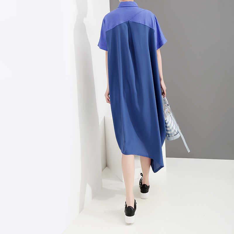 Женское платье-рубашка со скошенным подолом, повседневное длинное голубое платье составного кроя в корейском стиле, модель 4969 большого размера на лето, 2019