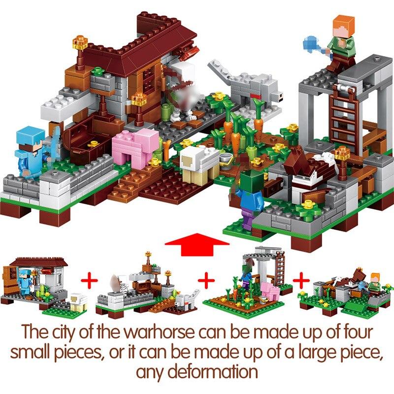 1208 pièces Mon Monde blocs de construction LegoING Minecrafted Village Cheval de Bataille Ville cabane Cascade jouets éducatifs Pour Enfants - 6
