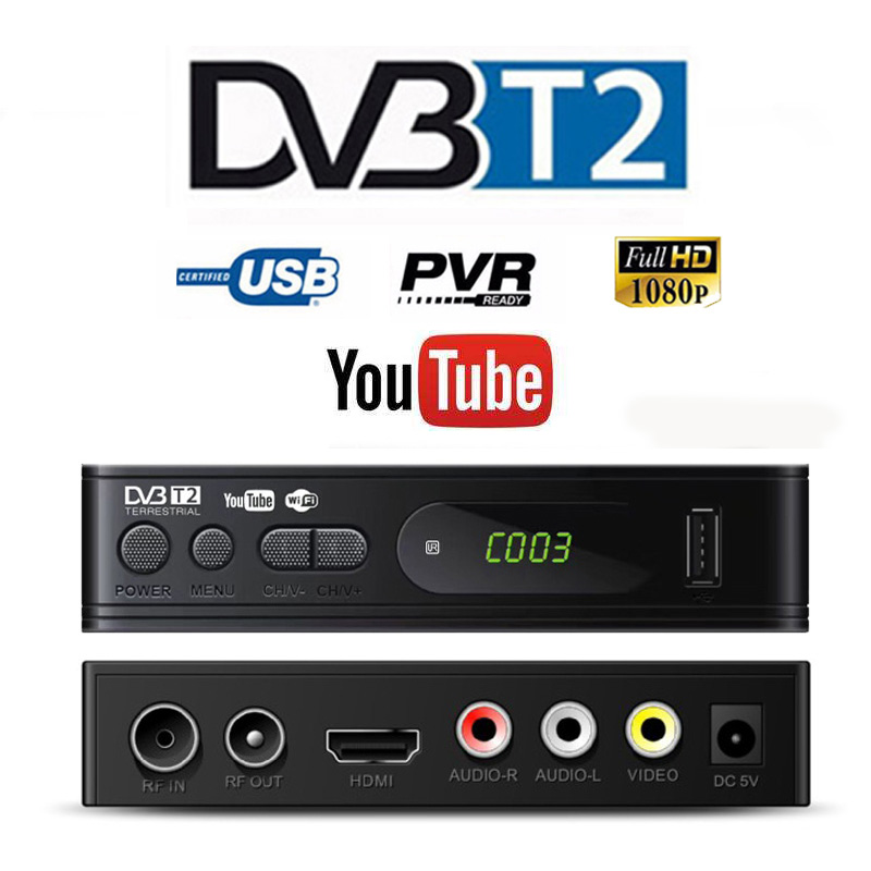 HD 1080p Tv Sintonizador Dvb T2 USB2.0 Dvb-t2 Para Adapter Monitor Vga TV Tuner Receptor de Satélite Decodificador Dvbt2 Russa manual