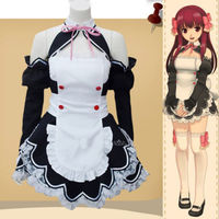 Anime Dream Club Maid Black White Cute Dress Cosplay Costume Apron S L Dress Skirt Free