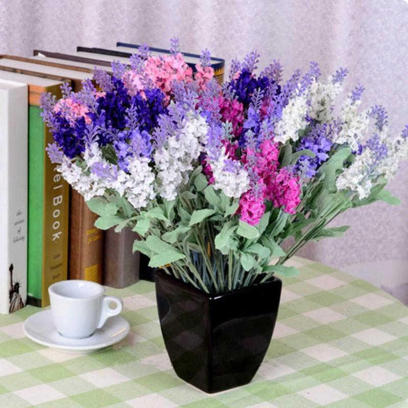 10 Heads Artificial Lavender Flower for Home Decor Wedding ...