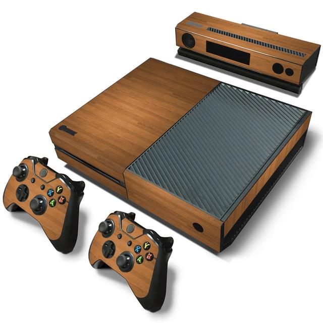 Custom removable wood grain vinyl sticker skin cover film decal for microsoft xbox one console sticker