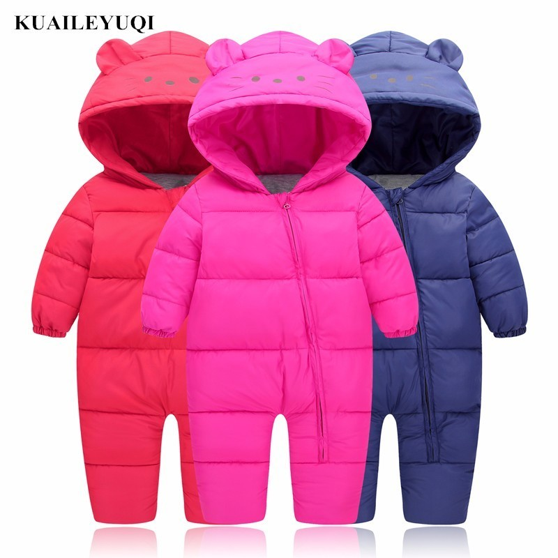 3-24M Baby Girls autumn Snow clothes Wear Infant winter clothing jackets for Toddler Boys Rompers cotton Coats newborn snowsuit