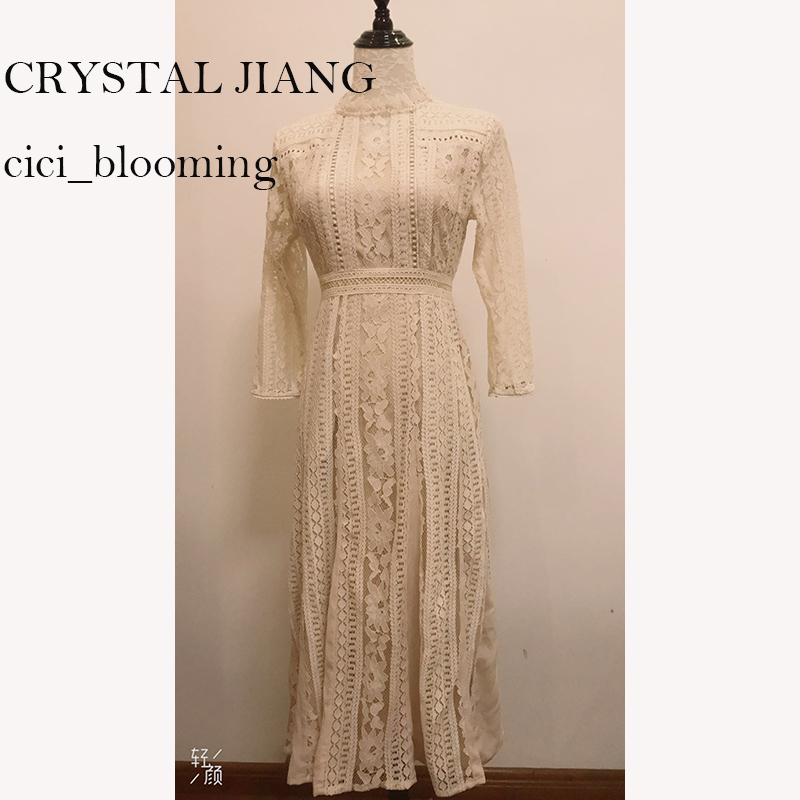 BOHO Lace Long Bridesmaid Dresses 2019 Tea-length Real Image