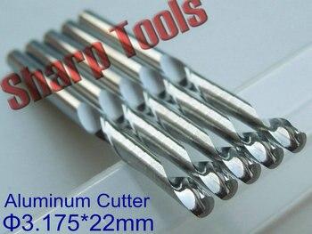 5pcs 3.175x22MM Single Flute Metal Aluminium CNC Bits Milling Tools Cutter, Tungsten Carbide End Mill Aluminium Cutting Tool