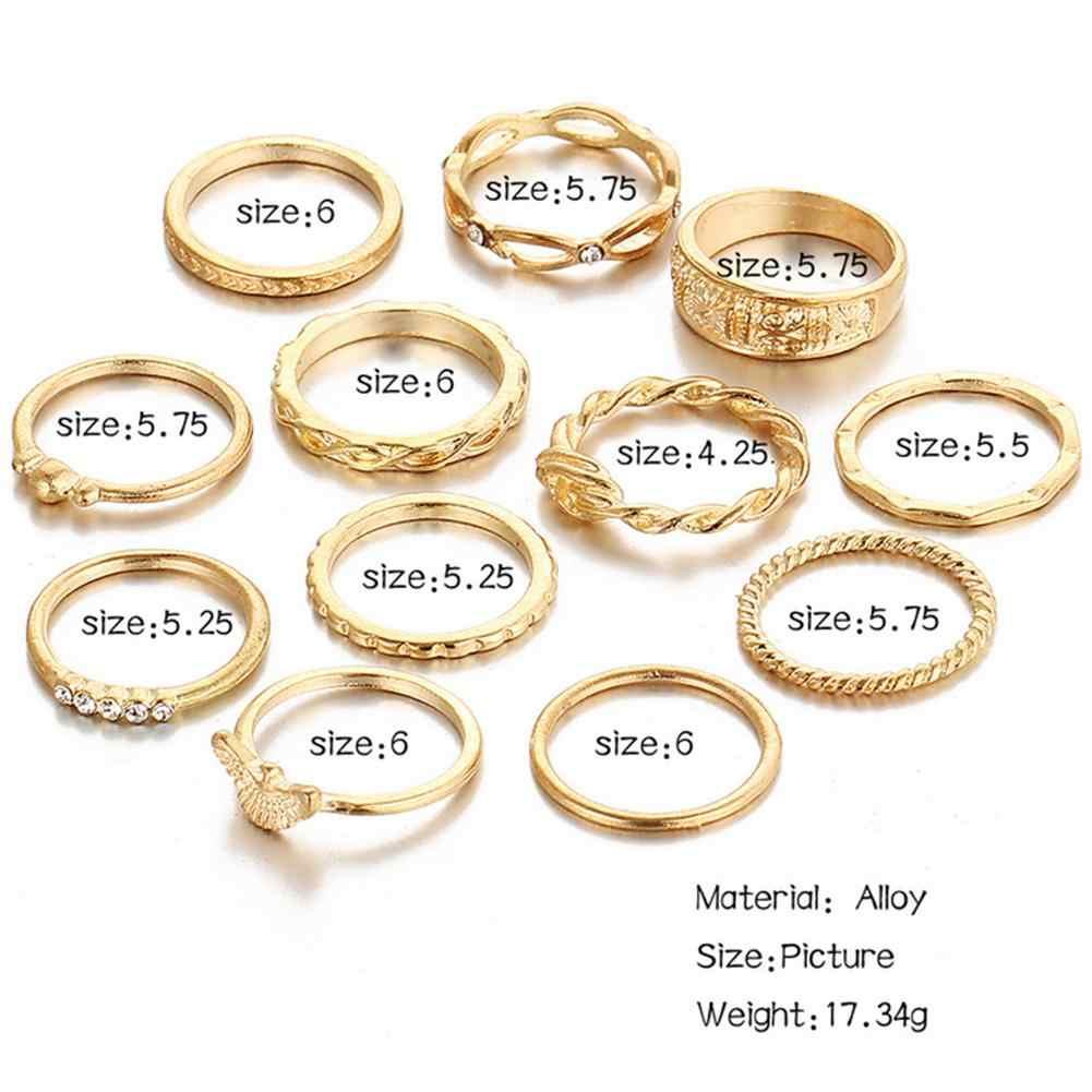 DesolDelos 12 pcs Knuckle Anéis Set Stylish Retro Esculpida Liga Vários Tamanhos Anéis Criados para As Mulheres Meninas Cor de Ouro