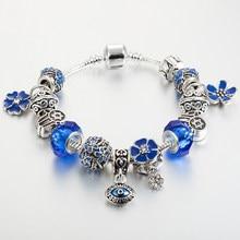 Annapaer 2019 hamsa mão charme pulseira prata cor mal olho pingente pulseiras & diy pulseiras para feminino presente dropshipping b16196