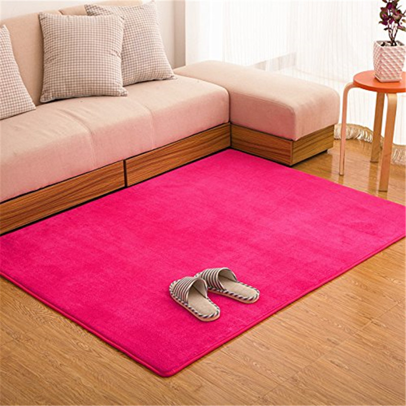Fadfay Pink Coral Fleece Carpet Living Room Meomory Foam