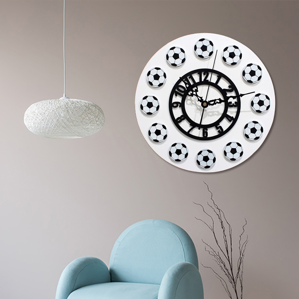 1 Pc New Fashion 30Cm X 30Cm Football Style Non-Ticking Acrylic Wall Clock Home Kitchen Office Sep30