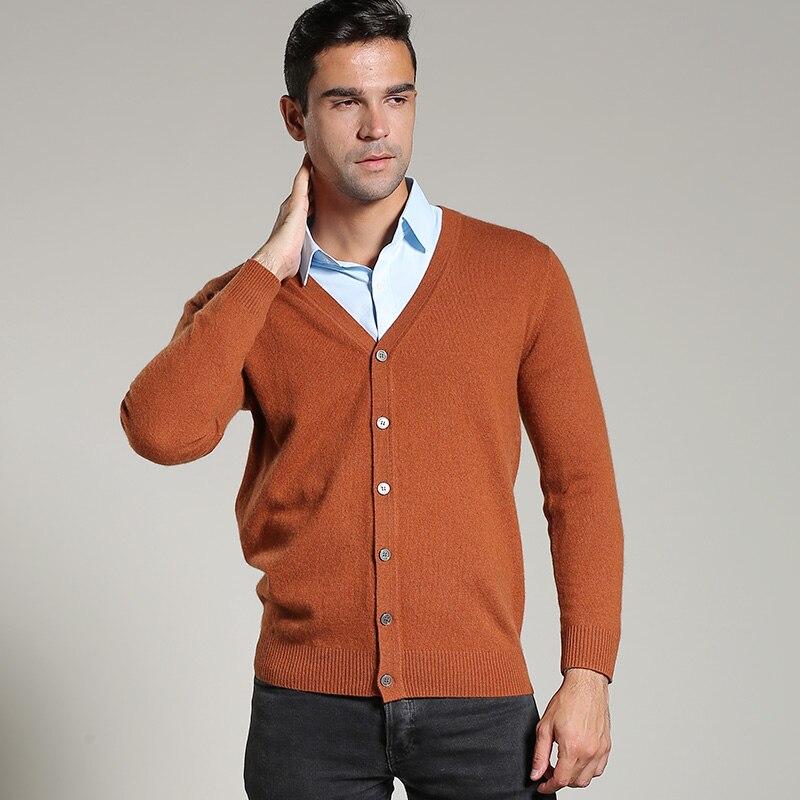 Homme Chandails 100% Cachemire À Tricoter Cardigans Col En V De Mode Bouton Cavaliers Pur Cachemire Mâle Standard Vêtements Vente Chaude Chandail