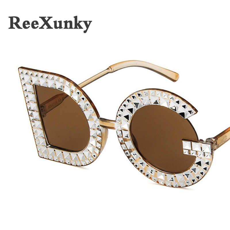 c15376398abe ... Fashion 2019 Oversized Sunglasses Women Round D G Plastic Frame  Rhinestone Sun glasses For Men Female Eyewear