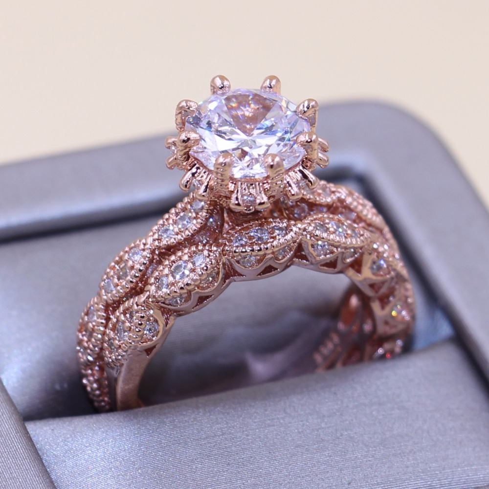 Bijoux de luxe en or Rose remplissage 925 argent blanc clair 5A CZ mariage femmes anneau de bande cadeau