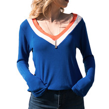 цены на 2019 New Plus Size Women Tops and Shirts V-neck Sexy Office Ladies T-shirts Blusas Female Long Sleeve Casual Tees Orange Blue  в интернет-магазинах