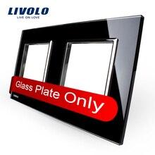 Livolo lujo cristal cristal negro perla, 150 mm * 80 mm, estándar de la ue, doble cristal para táctil de pared interruptor, VL-C7-SR / SR-12