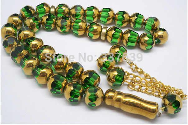 Di cristallo di colore verde islami branelli di preghiera Del Rosario Musulmano auto home office decorazione tasbih Allah regalo masbaha misbaha sibha